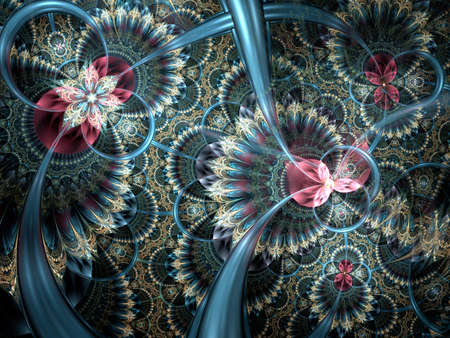 Dark colorful and blue fractal flower pattern