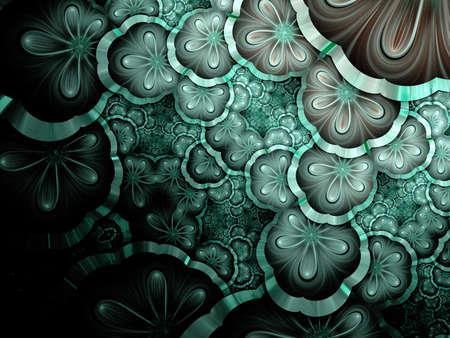 Symmetrical green and dark blue fractal flower