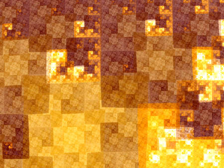 Abstract yellow square fractal  mosaic style background
