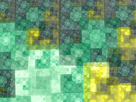 recursive: Abstract green square fractal  mosaic style background