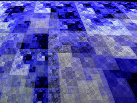 recursive: Abstract blue square fractal perspective mosaic style  Stock Photo