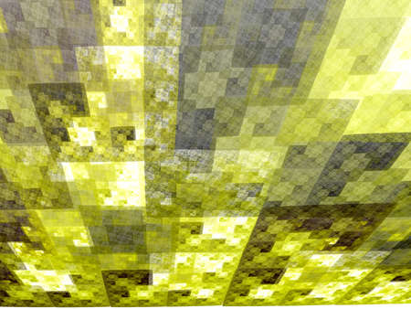 recursive: Abstract yellow square fractal perspective mosaic style background