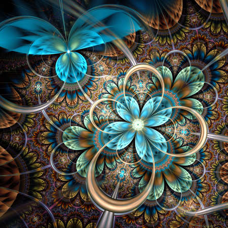 Dark orange fractal flower, digital artwork graphic photo
