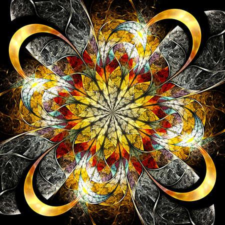 logarithm: Symmetrical colorful fractal flower, digital logarithm for creative graphic