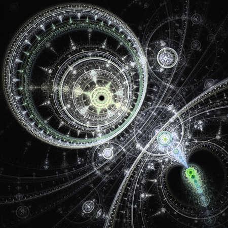 カラフルなフラクタル時計じかけ、抽象的な歯車デジタル アート