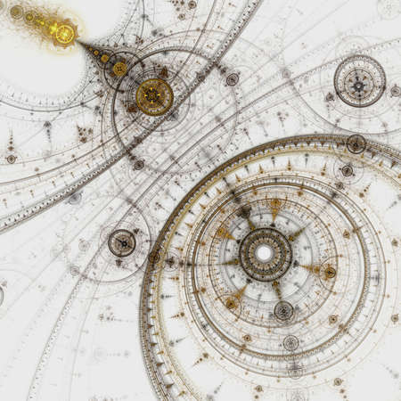 다채로운 프랙탈 시계, 추상적 인 기어 디지털 아트웍