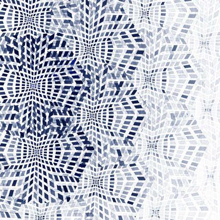 抽象的なフラクタル青い正方形のピクセル モザイク図