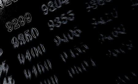 Black background with many numbers neon in perspective