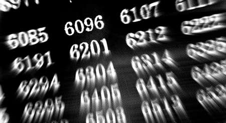 Black background with many numbers focus zoom in perspective