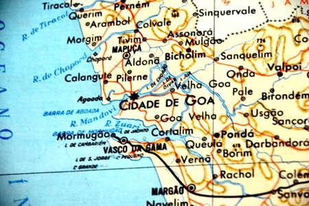 Goa - Portugal old map close-up focus portuguese
