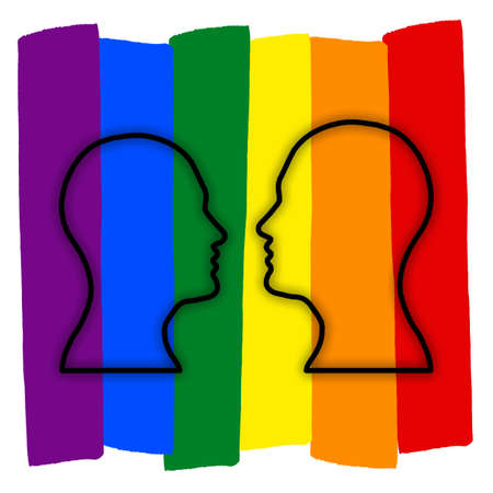 Gay couple with multicolored rainbow flag love, LGBT couple symbol, two man. Banque d'images