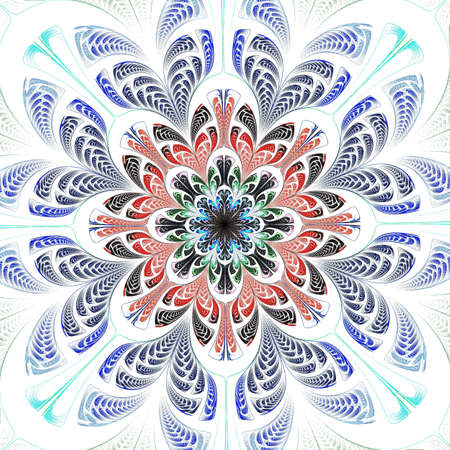 Beautiful Symmetrical fractal Blue mandala, flower or butterfly, digital artwork for creative graphic design. Computer generated graphics.
