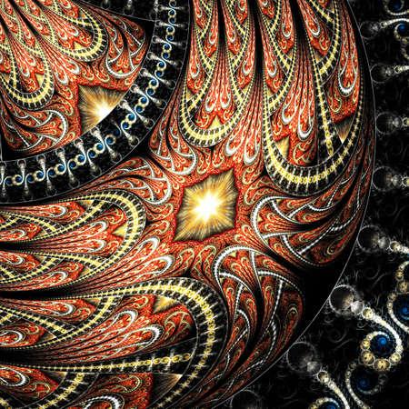 Beautiful Symmetrical fractal flower or butterfly, digital artwork for creative graphic design. Computer generated graphics. Reklamní fotografie