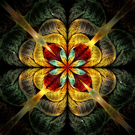 Beautiful Symmetrical fractal mandala, flower or butterfly, digital artwork for creative graphic design. Computer generated graphics.