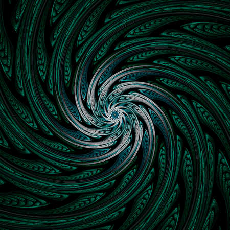 Abstract Symmetrical fractal tornado spiral galaxy, digital artwork for creative graphic design. Computer generated graphics. Stock Photo