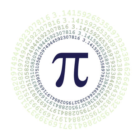 The Pi symbol mathematical constant irrational number on circle, greek letter, background
