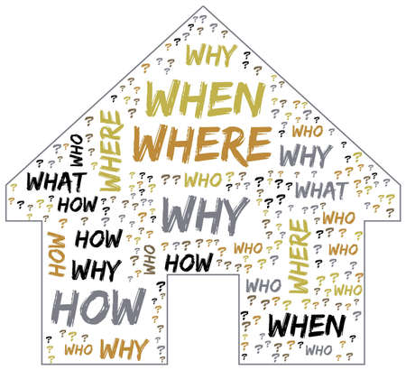 Word Cloud - Who, What, Where, When, Why and How on white background. Questions concept. Banque d'images
