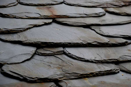 Details of shale roof on a house built from schist in Piodão,  one of Portugal's schist villages in the Aldeias do Xisto.
