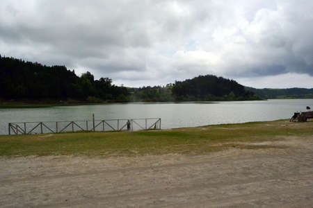 View on Furnas Lake, Sao Miguel, Azores, Portugal 免版税图像