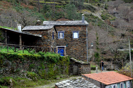 House, Piodao is a traditional shale village in the mountains, remote village in Central Portugal Stock Photo