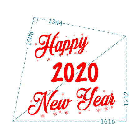 Wish happy new year 2020 using Pythagoras theorem, formula