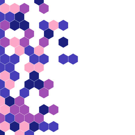 Grainy pattern composed of hexagons colorful. Honeycomb background. Isometric geometry abstraction. Aspect Ratio 1:1