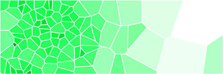 Stained glass colorful voronoi polygonal algorithm background, vector abstract. Irregular cells pattern. 2D Geometric shapes grid texture. Aspect Ratio 3:1