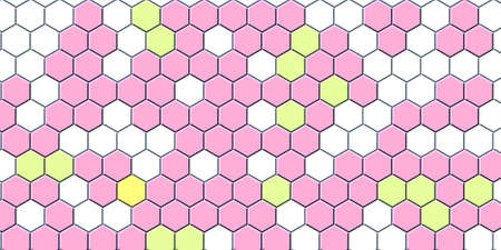 Honeycomb pink grid seamless background or Hexagonal cell texture