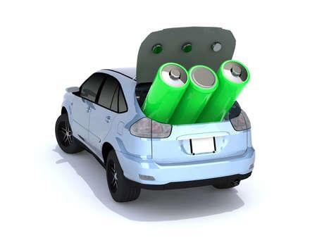 concepto de coche eléctrico con verdes pilas AA