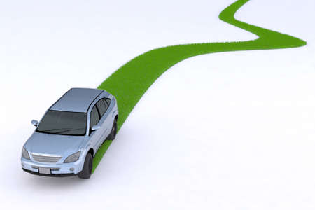 electric automobile: green car, the way of the future, 3d illustration