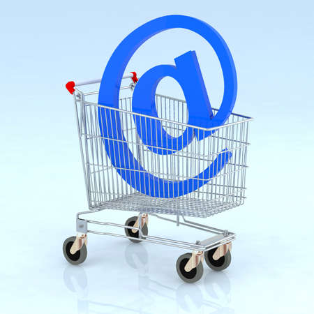 shopping cart with @ 3d illustration illustration