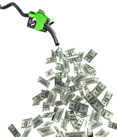 bomba de gasolina: inyector de combustible con ilustraci�n 3d de billetes de d�lar Foto de archivo