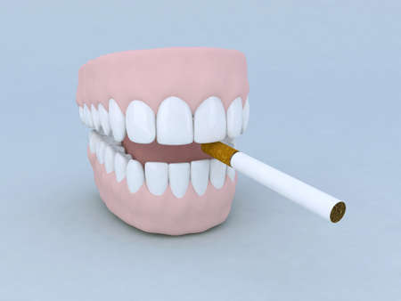 denture and cigarette 3d illustration cartoon illustration