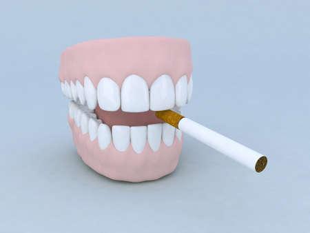 dentadura postiza: dibujos animados ilustraci�n 3d dentadura y cigarrillos