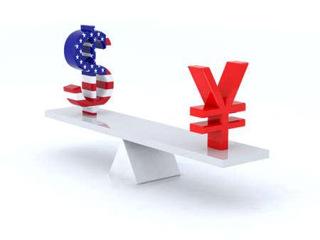 yen sign: dollar yen swing 3d illustration Stock Photo