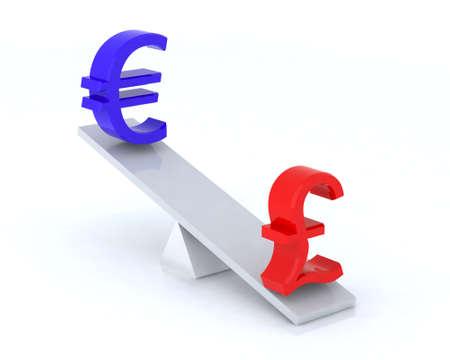 euro pound swing 3d illustration illustration