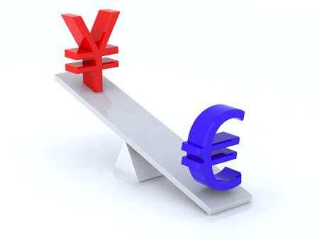 euro yen swing 3d illustration illustration