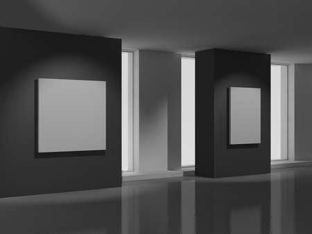 art museum: museum room with modern white paintings Stock Photo