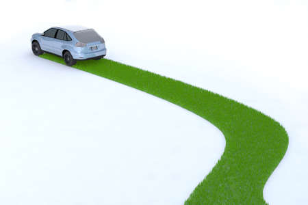 earth friendly: green car, the way of the future, 3d illustration