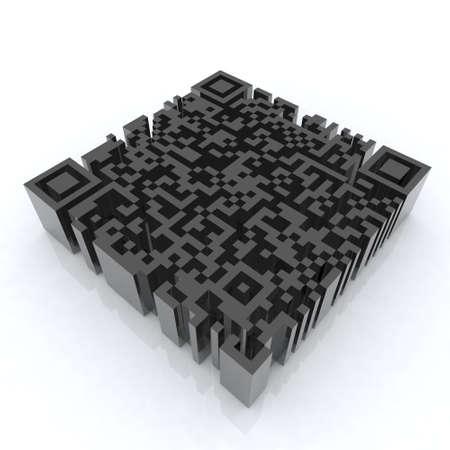 codes: big barcode qr 3d illustration