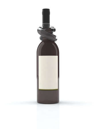 bung: red wine bottle with knot 3d illustration