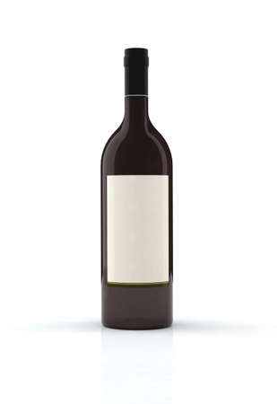 red wine bottle 3d illustration with blank label Stock Illustration - 9171561