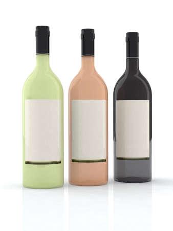 three bottle of wine 3d illustration illustration