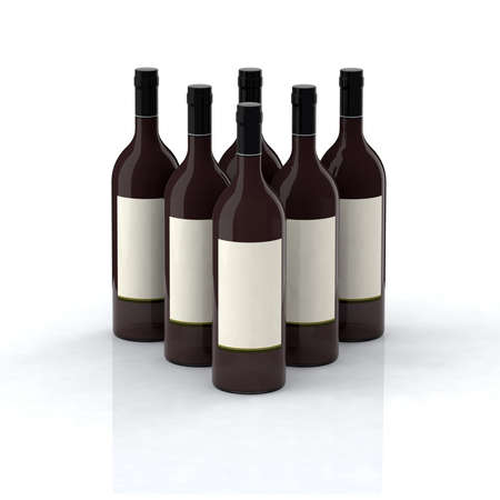 red wine bottles 3d illustration with blank label Stock Illustration - 9213547