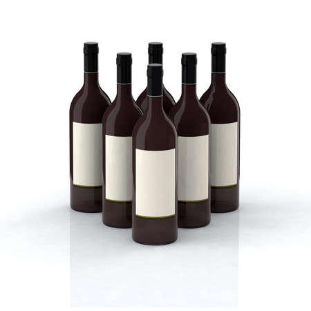red wine bottles 3d illustration with blank label Stock Illustration - 9213547