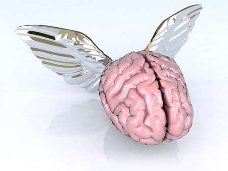 mind set: brain with wings 3d illustration Stock Photo