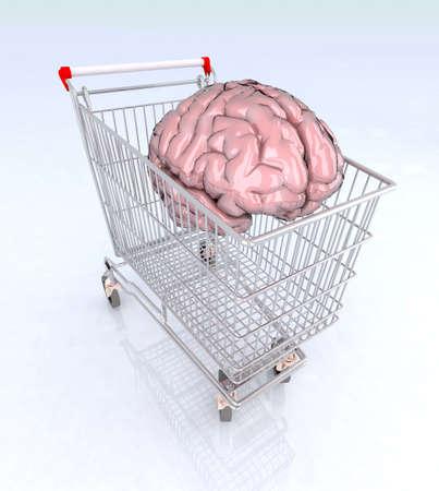blue brain: brain inside the shopping cart 3d illustration Stock Photo