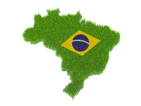 green brasil nation map and flag with grass 3d illustration illustration
