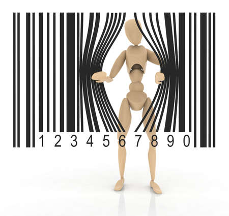 puppet who opens a bar code photo