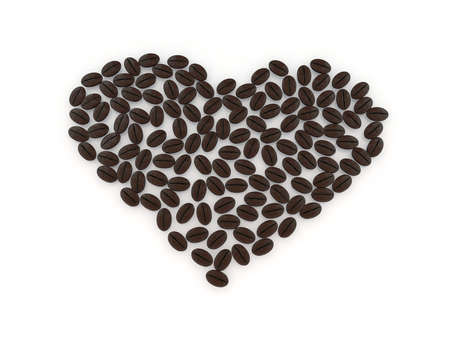 heart with coffee beans 3d illustration illustration